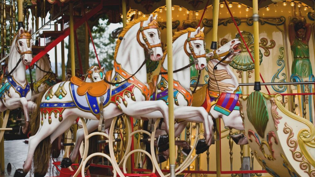 Horses on merry go round
